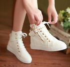 Sweet casual sgoes canvas womens&girls shoes rivet lace-up high top boots flat H