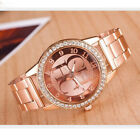 Geneva Luxury Womens Girls Crystal Stainless Steel Quartz Analog Wrist Watch