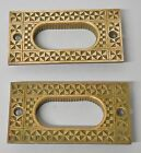 Pair Eastlake Antique Brass Door / Window Pulls