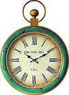 Teal  Gold Distressed 18 Wall Clock French Country Cottage Turquoise Decor