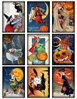 9 Vintage Halloween Witches Hang Tags ATC Cards Scrapbooking 360