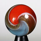 ANTIQUE German Handmade Glass Marble Rare DOUBLE RIBBON GOLD LUTZ  marbles 0.69