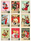 9 Vintage Children Christmas Postcard Hang Tags Scrapbooking Paper Craft 368