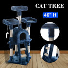 Cat Tree Post Scratcher Furniture Play House Pet Bed Kitten Toy Navy blue