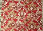 Antique French Fabric Turkey Red Printed Cotton Ethnic Kilim Rug Design  c1880
