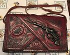 Vintage 1940s 1950s Toy Cap Gun Leather Tooled Red Mexico Purse Repurposed