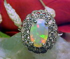 NATURAL ETHIOPIAN FACETED OPAL RING AAA+++ 10.2x7.4mm & WHITE SAPPHIRE 925 SS