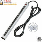 Heavy Duty Metal Power Strip 16 Ports Plug Adapter 15 Ft Long Electrical Cord
