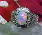 NATURAL ETHIOPIAN SOLID OPAL RING AAA+++ 8.8x6.8mm & WHITE SAPPHIRE 925 SS