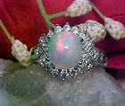 NATURAL ETHIOPIAN SOLID OPAL RING AAA++ 8.2mm ROUND & WHITE SAPPHIRE 925 SS