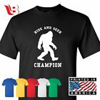 Hide and Seek Champion Funny T Shirt Bigfoot Sasquatch Graphic Tee S 3XL