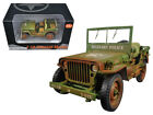 US Army WWII Jeep Vehicle Military Police Green Weathered 118 Diecast 77406A