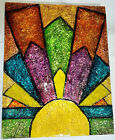 Original Art Deco Stained Glass Coloured Foil Resin Encased Patricia May Clark