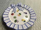 Fitz & Floyd Petits Vegs Round Plate Blue Ribbon Hand-painted raised vegetable