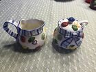 Fitz & Floyd Petits Vegs Cream & Sugar Blue Ribbon Hand-painted raised vegetable