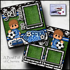 SOCCER BOY 2 premade scrapbook pages paper printed 4 album layout sports CHERRY