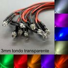 10x 5mm LED Flattop cablato 60cm diodo Resistore 5mm