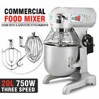 20 QT FOOD DOUGH MIXER BLENDER 1HP STAINLESS STEEL CATERING KITCHEN CAKE BAKERY