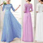 US Women Long Chiffon Formal Lace Party Cocktail Evening Prom Wedding Maxi Dress