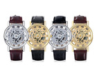 BLACK BROWN STRAP TRANSPARENT SKELETON WATCH MENS GOLD GEARS PU LEATHER WATCHES