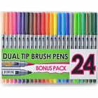 Dual Tip Colors Paint Markers Set Of 24 Pens With Broad Brush And Fine Tip Art