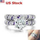 US 2PCS Rings Women Elegant Heart Amethyst Wedding Engagement Ring Set 18K