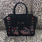 NWT Coach Blake Carryall 25 Refined Leather Floral Applique F59450 Black Multi