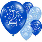 10 Pink Girls Blue Boy 2nd Birthday Party 11 Pearlised Latex Printed Balloon