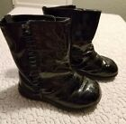 Faded Glory Toddler Girls 6 Ruffle Velcro Patent Leather Black Boots