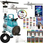 3 Airbrush Kit with 6 US Art Supply Primary Airbrush Colors and Master Airb