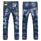 New Mens Italy Style Vintage Skull Embroidery Pants Blue JEANS Trousers PP1500T