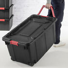 40 Gallon Plastic Storage Wheeled Container Tote Rugged Industrial Case of 2