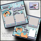 BABY 1st CRAWL boy 2 premade scrapbook pages paper printed layout BY CHERRY