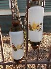 RETRO VINTAGE COLLECTIBLE DOUBLE PENDANT HANGING SWAG LAMP LIGHT ROSES GLASS