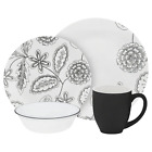 Corelle Vive 16 Piece Glass Reminisce Dinnerware Set, White