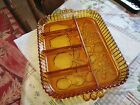Indiana Amber Depression Glass Divided Fruit Embossed  Serving Tray /Dish!!NICE!