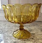 Large Amber Glass Anchor Hocking Pedestal / Footed Bowl - Fairfield Pattern
