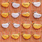 10PC Silver Gold Tone Family Heart Beads Charms Pendants Jewelry Making Craft