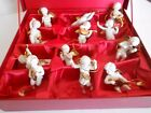 24KT CHRISTMAS ORNAMENTS BISQUE ANGELS HERALDING FRANKLIN MINT Gianni Benvenuti