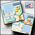 SPECIAL DELIVERY baby boy 2 premade scrapbook pages paper printed layout CHERRY