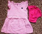 Girls Size 3 M 0 3 Months 2 Pc Pink  White Striped NIP Carters Dress Pink DC