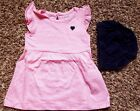 Girls Size 3 M 0 3 Months 2 Pc Carters Pink  White Striped NIP Dress Navy DC