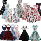 US Women 50s Vintage Floral Style Rockabilly Cocktail Party Swing Dress S 4XL