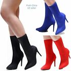 New Women BDd Black Red Stretchy Pointy Toe Stiletto Heel Booties Mid Calf Boots