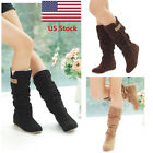 US Womens Ladies Faux Suede Lace Mid Calf Hidden Wedge Heel Cuff Slouch Boots