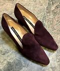Vintage Unworn Anne Klein Collection Burgundy Purple Wine Italian Suede Shoes 8