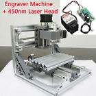 Mini CNC 1610 CNC Engraving Machine PCB Milling Wood Router + 450nm Laser Module
