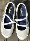 SKECHERS WOMENS WHITE LEATHER MARY JANE CRISS CROSS SHOES SIZE 75 GUC