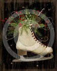 Primitive Folk Art Winter Christmas Ice Skates Holly Berries -  PRINT ONLY 8x10