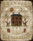 Primitive Folk Art Fall Autumn Thankful for Thy Grace Saltbox -  PRINT ONLY 8x10